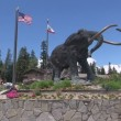 Stock Video: Woolly mammoth statue at Mammoth Mountain