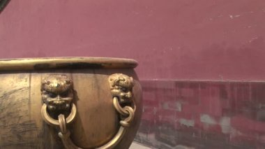 Lion Head Detail on Chinese Pot — Stockvideo