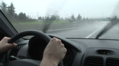 Driving in the Rain, Windshield Wipers Beating Back Downpour — Wideo stockowe