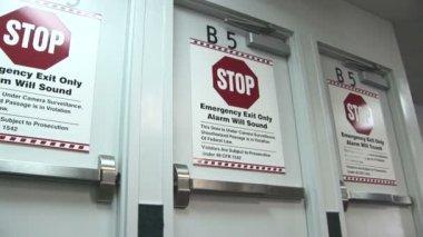 Stop, Emergency Exit Only Doors — Stock Video