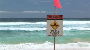 Warning strong current sign in front of the waves at Sandy Beach, Hawaii
