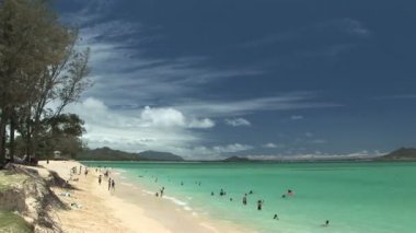 People swimming, Kailua Beach, Hawaii, time lapse