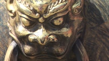 Lion Head Detail on Chinese Pot — Video Stock