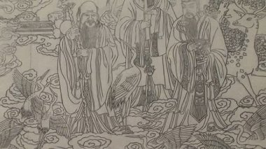 Chinese Mural Etched in Stone — Stock Video