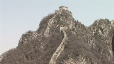 Original section of The Great Wall, China, Jinshanling, low angle view, zoom in