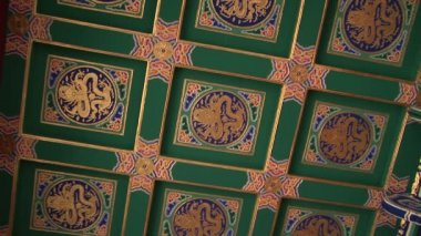 Ornate Painted Chinese Ceiling — Stock Video
