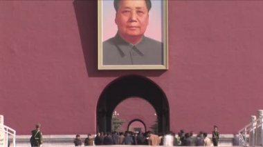 Chairman Mao, Forbidden City and Chinese Tourists — Vídeo Stock