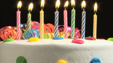 Birthday cake with candles — Stock Video