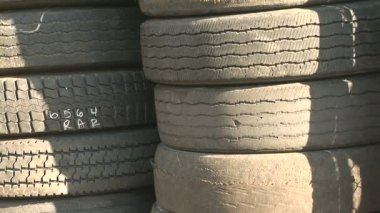 Tower of Old, Used Tires — Stock Video
