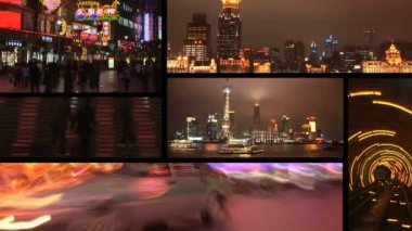 Shanghai, China at night, montage — Stock Video