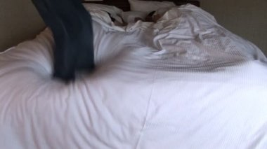Jump out of bed — Stockvideo