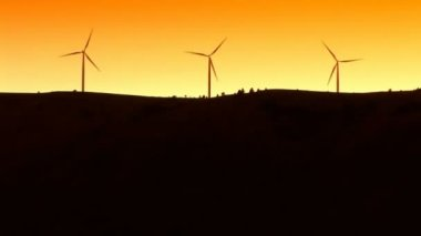 Wind turbines silhouette — Stock Video