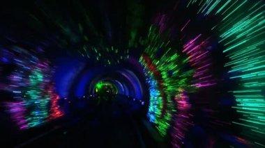 China, Shanghai, The Bund, Bund sightseeing tunnel, slow shutter speed — Stock Video