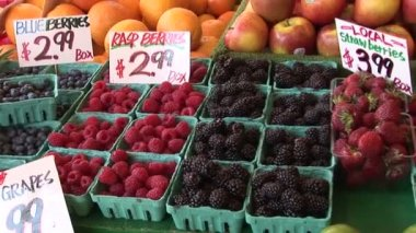 Blueberries, raspberries, strawberries and blackberries — Stock Video