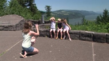 Family Portrait along the Columbia River Gorge — Стоковое видео
