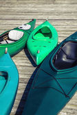 Green Kayaks — Stock Photo