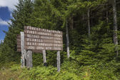 Tree farm information sign — Stockfoto