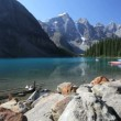 Moraine Lake Canoes — Stock Video
