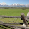 Grand Tetons and split rail fenc — Stock Video