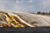 Overflow from Excelsior Geyser runs into the Yellowstone River — Stock Photo