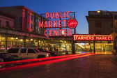 Pike Place Market at Night — Stock Photo