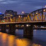 Portland Skyline at Night — Stockfoto