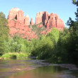 Cathedral Rock and Oak Creek — Stock Video