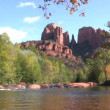 Cathedral Rock und Oak creek — Stockvideo