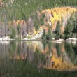Mountain Reflected in Lake in Fall - Stock Photo