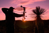 Bowhunter in Sunset — Stock Photo