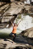 Practicing Yoga at Waterfall — Stock Photo