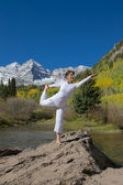 Yoga in Mountains in Fall — Stock Photo