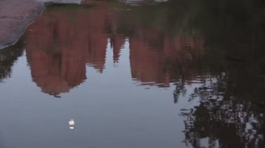 Cathedral Rock Moonrise Reflection — Stock Video