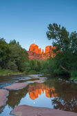 Moonrise at Cathedral Rock Reflection — Stock Photo
