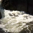 The river with the big boulders and with whirlpool. — Vídeo Stock