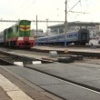 Stock Video: Passenger train leaves from station