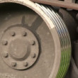Stock Video: Iron wheel of train. Focus removal