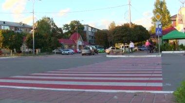 Site de la ville avec un passage pour piétons. time-lapse — Vidéo