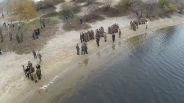 Reconstruction of military scene period 1943 year WW2 in Ukraine. Aerial — Stock Video