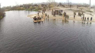 Reconstruction of military scene period 1943 year WW2 in Ukraine. Crossing rehearsal. Aerial — Stock Video