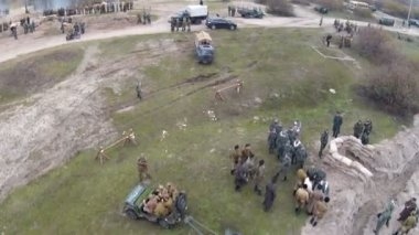 Reconstruction of military scene period 1943 year WW2 in Ukraine. Aerial scene 7. — Stock Video
