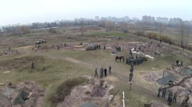 Reconstruction of military scene period 1943 year WW2 in Ukraine. Aerial scene 10. — Stock Video