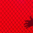 Red Fence and hand Shadow — Stock Photo
