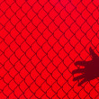 Stock Photo: Red Fence and hand Shadow