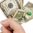 A hand full of us dollars — Stock Photo