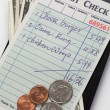 Guest Check and dollar — Stock Photo