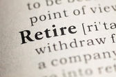Fake Dictionary, Dictionary definition of the word Retire. — Stock Photo