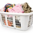 Laundry basket and dirty clothing — 图库照片