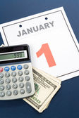 Calendar New Year's Day and dollar — Foto de Stock