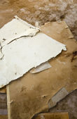 Water leaking damaged plasterboard and carpet — Stock Photo